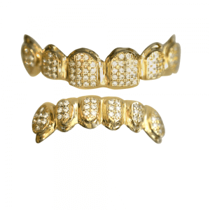 Gold Iced Out Top and Bottom Grillz